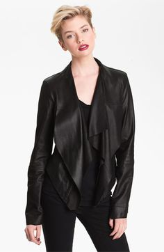 love the shawl collar Bod & Christensen Drape Collar Leather Jacket available at #Nordstrom