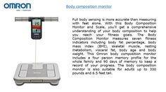 Omron #Bodycompositionmonitor allows you to check analyze body fat at home accurately.