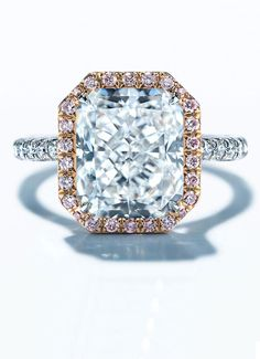 rose gold embrace emerald cut wedding engagement rings from Tiffany's