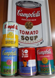 I have this set...brightly colored soup cans with Andy Warhol's likeness and his pithy comments on the back...just don't eat them as you can find much better soup elsewhere.