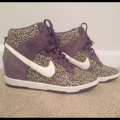 Nike Liberty London Wedges - Ladies 9 Perfect condition. Floral/Multi Color print with Mave suede trim. I bought 2 pair of these wedges and love them, love the look but sadly, due to back problems I can't wear them.  Perfect condition! No original box. Nike Shoes Wedges