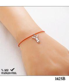 18c61a5fc787b Axcesi (1425B) Deer cord wristband-bracelet stainless steel ring