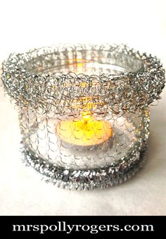 Make 40 cent Scrubby Jar Votives with this TUTORIAL!!  SPRING, EASTER, EVENTS, WEDDINGS, PARTIES, DECOR.  Blog & Photos from MrsPollyRogers.com