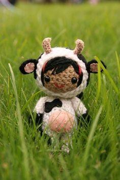 amigurumi crochet pattern for a cute little cow girl!