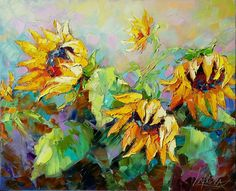 Painting Sunflowers in the sun - Victoria Lapteva, Ukraine, oil, canvas. The painting sold unframed. Standard delivery is 12-14 days