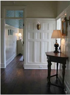 board and batten and transom-NICE change for your dining room wall by windows then no wood on other 3 walls!