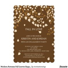Modern Autumn Fall Leaves Engagement Party Card