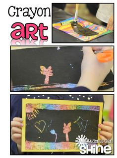 Crayon Art Project. All you need is a box of crayons, black tempera paint, and paper! This is an easy art project for ANY grade!