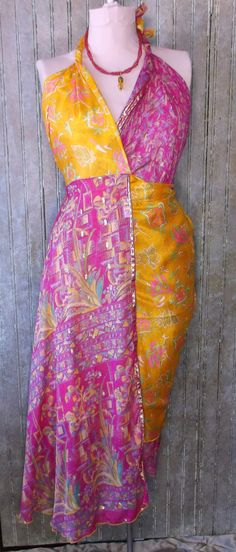 "RESERVE for SUNSHINE 34"" silk Wrap Skirt made from vintage Indian sari's  with matching handmade necklace set"