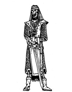 A skeleton warrior resembles a lich, but is the undead form of a powerful fighter dressed in remnants of fine armor and clothing. It is much stronger than the typical animated skeleton. (Russ Nicholson, AD&D Fiend Folio, TSR, Fantasy Rpg, Fantasy Artwork, Tomb Kings, Skeleton Warrior, Nostalgia Art, Dungeon Master's Guide, Advanced Dungeons And Dragons, Black And White Artwork, Dnd Art