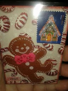 Postage stamp ATC with gingerbread