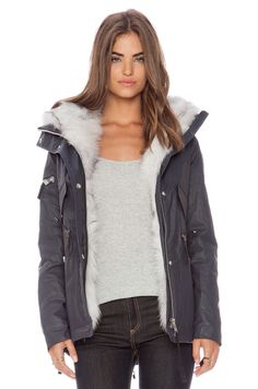 SAM. Mini Highline with Fox Fur in Navy & Natural Fox Fur