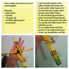 How to make a bow and arrow out of school supplies idk if I've already posted this but it's awesome 😂 Simple Life Hacks, Useful Life Hacks, Fun Crafts, Diy And Crafts, Things To Do When Bored, Stuff To Do, Cool Stuff, Cool Inventions, School Hacks