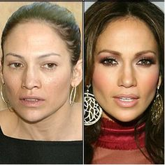 How celebrities look before and after makeup is applied
