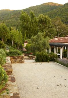 Bocce Court for a Mediterranean Landscape with a Oakpit Bbq and Avila Valley Estate by Jeffrey Gordon Smith Landscape Architecture