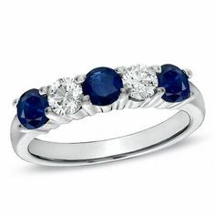 Shop For Blue Sapphire and CT. Diamond Five Stone Wedding Band in White Gold at Gordon's Jewelers - Blue Sapphire and CT. Diamond Five Stone Wedding Band in White Gold. Eternity Ring Diamond, Diamond Stone, Diamond Bands, Gold Engagement Rings, Diamond Wedding Rings, Wedding Bands, Wedding Stuff, Wedding Ideas, Sapphire Band
