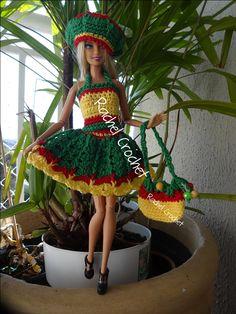 #Doll #Crochet #Vestido #Saia #Skirt #Barbie #RaquelGaucha