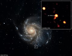The Chandra image in the inset shows X-rays from SN 1970G, a supernova that was observed to occur in the galaxy M101 35 years ago. The bright cloud in the box in the optical image is not related to the supernova, which is located immediately to the upper right (arrow) of the cloud. (Credit: X-ray: NASA/CXC/GFSC/S.Immler & K.Kuntz; Optical: NOAO/AURA/NSF/G.Jacoby, B.Bohannan & M.Hanna)