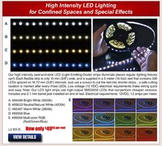 High Intensity LED Lighting Strips for Confined Spaces and Special Effects & Holiday Projects