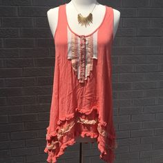 Free People Racerback Ribbon & Lace Ruffle Top Perfect summer top!! Free People Racerback Ribbon, Lace, & Ruffle Top! Beautiful coral color with buttons! Size Small. Previously loved, gently. Free People Tops Blouses