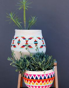 Decoración Fácil: DIY decorar cestos de cuerda de algodón