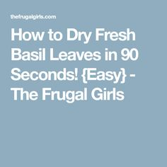 How to Dry Fresh Basil Leaves in 90 Seconds! {Easy} - The Frugal Girls