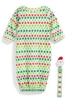 Christmas Tree Gown & Pacifier Clip (Baby Boys)