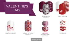 Get ready for Valentines with Jamberry Nails! The two top designs come with 3 designs per sheet! and the 2 with the stacked designs are Jamberry Juniors, perfect for little girls age 2-8! I do online Facebook based parties if you'd like to earn these wraps FREE with your host rewards! Contact me to book a party or shop directly at www.christymessier.jamberrynails.net   #jamberrynails #valentinesnails #easynails #nailart #valentinesnailart #hearts #valentines