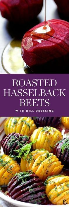 Get the recipe for these tasty roasted hasselback beets with dill dressing by From A Chef's Kitchen, and more delicious hasselback recipes that are perfect for Thanksgiving. #beets #beetrecipes #thanksgivingrecipes #thanksgiving #healthythanksgiving #healthyrecipes
