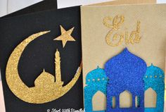 Blue Masjid and Gold Moon - Eid Cards # DIY Decorating gold Diy Eid Cards, Eid Greeting Cards, Kids Cards, Happy Eid Cards, Diy Eid Gifts, Eid Crafts, Ramadan Crafts, Ramadan Decorations, Ramadan Activities