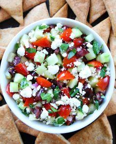 Crazy Good Greek Salsa - Recipe, Appetizers, Healthy, Ethnic Food, Vegetarian