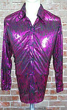PURPLE SHIMMER DISCO  SHIRT 1970s METALIC   (Image1)