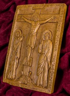 Crucifixion of Jesus aromatic wall icon made with pure beeswax, mastic and incense from Mount Athos. Crucifixion Of Jesus, Jesus Christ, Christian Gifts, Wall Plaques, Incense, Hand Carved, Carving, Pure Products, Free Shipping
