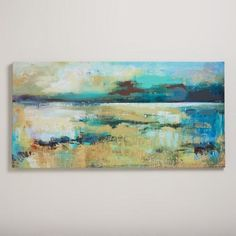 """""""Subdued II"""" by Elinor Luna, is inspired by the inner calmness of Kauai, where the artist grew up. Featuring an abstract landscape created by combining watercolor and oil paint the richly textured blue, green and gold tones distinguish this soothing piece, which sincerely captures a """"subdued"""" feeling. With its extra-wide length, this ethereal painting is perfect over the sofa or as a stunning centerpiece in large spaces."""