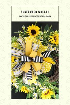 Learn to Make a Sunflower Wreath for Your Front Door! #wreath #tutorial #homedecor #decorprojects #wreathmaking #wreathprojects #DIY #DIYWreath Floral Wreaths, Sunflower Wreaths, Holiday Wreaths, How To Make Wreaths, How To Make Bows, Door Wreaths, Grapevine Wreath, Diy Home Decor Projects, Craft Projects