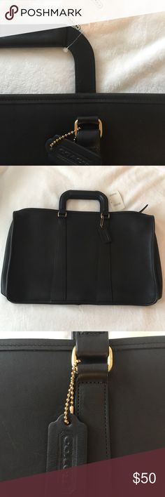 """Genuine Coach Black Leather Portfolio Genuine matte leather portfolio with handles. NWT and includes Coach booklet/product registration card. 17x11"""" front and back and about 2"""" on sides. From a smoke-free, Pet-free home. Reasonable offers accepted! Coach Bags Laptop Bags"""