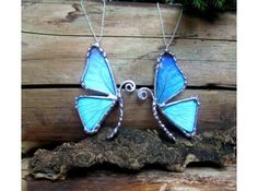 Rea; Butterfly Wing Pendant, Blue Morpho Butterfly, BFF Necklace, Friendship Mother Daughter Set