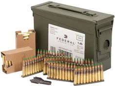 A pretty good bargain for $170.00. 420 rounds of Federal Lake City 5.56x45 NATO 62 grain FMJ green-tip ammo on stripper clips, stripper clip guide and a gasket-sealed .30 cal. ammo can.