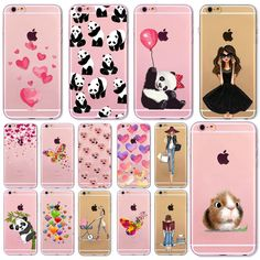 Soft Phone Cover Case For iPhone 7 6 6S 5 5S SE 7Plus 6SPlus 4S Amazing Present Panda Fashion Girl Hamster Heart Fundas