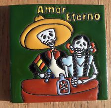 """Talavera Mexican tile Day of the Dead hi relief 4"""" Amor Eterno  Man Woman Green"""