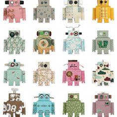 Robot wallpaper . Behang jongenskamer