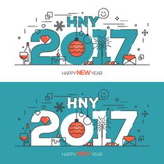 Flat Thin Color Line Concept of Happy New Year trendy and minimalistic card or background. Modern Thin Contour Line Design Vector Design, Graphic Design, Happy New Year Design, Happy New Year Cards, New Years Poster, Color Lines, Line Design, Typography, Design Inspiration