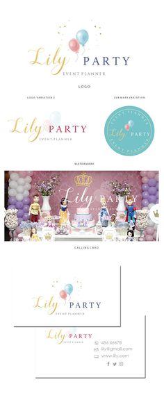 Marca de kit de fiestas diseño  Party planner insignia  logo