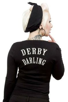 """This is freaking sweet! Keep cozy warm when your not in the rink with the Derby Darlin' cardigan! This black cardigan features embroidered derby gal legs on the chest, red buttons & """"Derby Darling"""" embroidery on back. Roller Derby Clothes, Roller Derby Girls, Derby Outfits, Retro Outfits, Derby Skates, Hot Rollers, Skate Girl, Black Cardigan Sweater, Up Girl"""