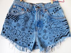 DOODLE JEANS // Vintage 90s High Waisted Shorts Drawn On Graffiti Denim Size XXS on Etsy, $35.00
