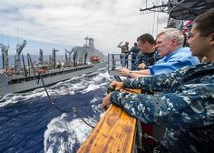 Secretary of the Navy (SECNAV) Ray Mabus embarks aboard the guided-missile cruiser USS Princeton (CG 59) during the Great Green Fleet demonstration portion of Rim of the Pacific (RIMPAC) 2012.