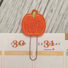 Pumpkin - orange - felt - Erin Condren Planner Accessories, Planner clip, bookmark, page clip, paper clip, planner accessories