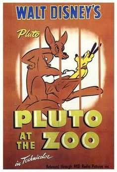 """Pluto at the zoo"" 1942 Disney Cartoon short movie poster"