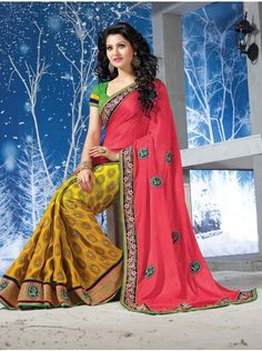 Pink Georgette Saree With Patch And Butta Work