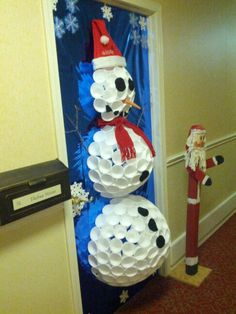 Snowman Made Out Of Styrofoam Cups. Hot Glued Right On A Covered Door. Felt